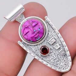 Face Carved Purple Mohave Turquoise and Garnet 925 Silver Pendant SDP16284