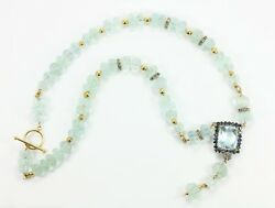 288cts Cushion Shaped Aquamarine And Sapphire Lariat Tassel Necklace Hand Carved