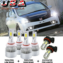 (6) LED Combo For Honda Civic 2006-2015 High Beam Daytime Running Fog Light DRL
