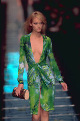 ICONIC VERSACE SS2000 PLUNGING Green Dress