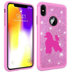 For Apple iPhone Glitter Bling Shockproof Protective Case Cover Poodle $14.99