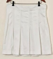 Worthington Stretch Lined A Line Pleated White Skirt 16 XL Women $22.99