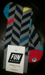 Fun Socks Men#x27;s Gray Multicolored Herringbone Crew Socks Size 10 13 $9.99