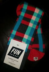 Fun Socks Men#x27;s Charcoal Teal Fuschia Plaid Crew Socks Size 10 13 $9.99