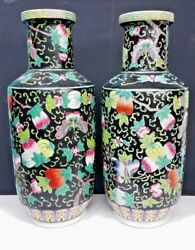 ANTIQUE CHINESE ENAMELED PORCELAIN VASES FAMILLE NOIRE HAND PAINTED 18 12''