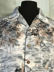 Roundy Bay Beach Button Up Hawaiian Shirt Sz L SAIL BOATS