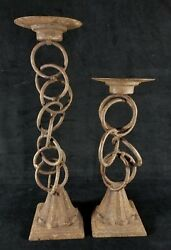 Pair Of Contemporary Rustic Iron Metal Candle Holders One 14.5 One 11.2 Inch VGd $19.99