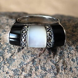 Black Onyx Marcasite & Mother of Pearl  in .925 Sterling Silver Ring Size 7