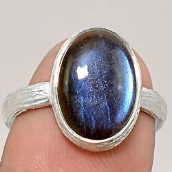Matte Finish - Blue Labradorite 925 Sterling Silver Ring Jewelry s.8 SDR48815
