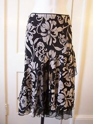 WHITE HOUSE BLACK MARKET Tiered Asymmetrical Midi Skirt Net Ruffle Romantic 4
