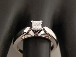 Magic Glo .45 ct Princess Solitaire Diamond Engagement Ring 14k D SI eye clean $589.59
