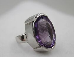 Gorgeous 925 Sterling Silver Large Oval Purple Amethyst Stone Ring Size 8