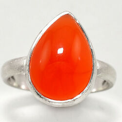 Matte Finish - Carnelian Cab 925 Sterling Silver Ring Jewelry s.8 SDR48862