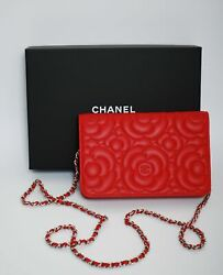 CHANEL WOC Wallet On Chain Red Leather Crossbody Purse Handbag Bag with Box
