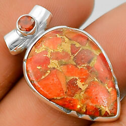 Copper Red Turquoise and Garnet 925 Sterling Silver Pendant Jewelry SDP26807