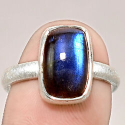 Matte Finish - Blue Labradorite 925 Sterling Silver Ring Jewelry s.8 SDR48868
