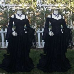 Long Sleeve Black Lace Gothic Wedding Dresses Halloween Bridal Gown Size 2 26