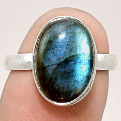 Matte Finish Blue Labradorite 925 Sterling Silver Ring Jewelry s.7.5 SDR48794