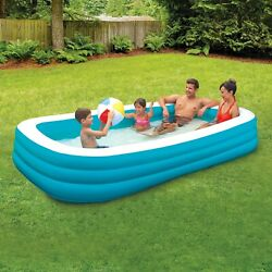 Inflatable Family Swimming Pool 10' Deluxe Kid Outdoor Swim Play Backyard Lounge