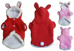 Cute Dog Jacket W Rabbit Ears Hood amp; White Tail Red or Pink Unisex Small Dog $13.99