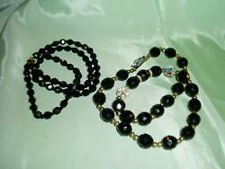 Gorgeous Vintage Lot of 2 BLACK CRYSTAL & AB Clear Beaded Necklace