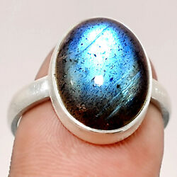 Matte Finish - Blue Labradorite 925 Sterling Silver Ring Jewelry s.8 SDR48891