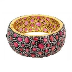 14k Gold Pave 11.71ct Diamond Tourmaline Gemstone Bangle Bracelet 925 Silver NEW