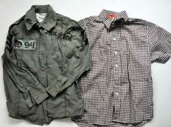 NORDSTROM KULE ROAR Designer Boys Shirt top Lot Embroidered MOTO Green Brown 6 $