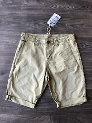 NWT Stitch's Men's Clyde Chino Roll Up Shorts Grasslands Green Size 32