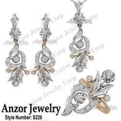 14k Rose and White Gold Diamond Ring Earrings and Pendant Russian style #S228