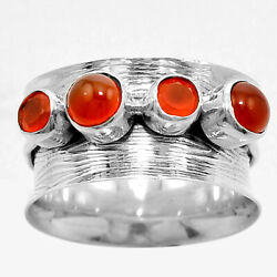 Matte Finish - Carnelian 925 Sterling Silver Ring Jewelry s.9 SDR50999