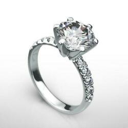 HOLIDAY NATURAL ROUND BRILLIANT DIAMOND RING 18 KT WHITE GOLD 2.5 CT 6 PRONGS