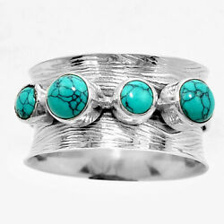 Matte Finish - Sky Turquoise 925 Sterling Silver Ring Jewelry s.9 SDR51023