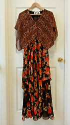VICKY TIEL DRESS TIERED MAXI CASUAL BLACK SLEEVES FLORAL ATTACHED CAPE SIZE XS