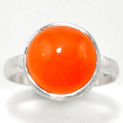 Matte Finish - Carnelian Cab 925 Sterling Silver Ring Jewelry s.8 SDR48778