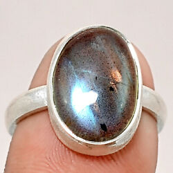 Matte Finish - Labradorite 925 Sterling Silver Ring Jewelry s.8 SDR48820