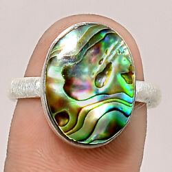 Matte Finish - Abalone Shell 925 Sterling Silver Ring Jewelry s.8.5 SDR48850