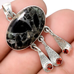 Silver Black Turquoise and Garnet 925 Sterling Silver Pendant Jewelry SDP41066