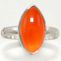 Matte Finish - Carnelian Cab 925 Sterling Silver Ring Jewelry s.7 SDR48877