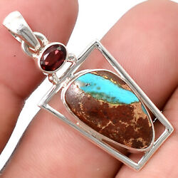 Pilot Mountain Turquoise and Garnet 925 Sterling Silver Pendant Jewelry SDP43122