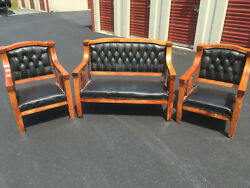 ANTIQUE EMPIRE 3 Pc. SETTEE SET wORIGINAL LEATHER COVERINGS - MISSION OAK STYLE
