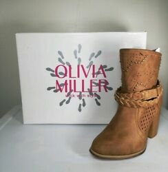 Olivia Miller Womens Calf Boots Brown Studded Heel round toe Western Size 6 $20.00