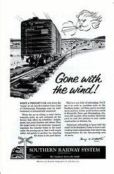 Vintage print ad Train 1956 Southern Railway System Gone with the Wind Freight $9.95