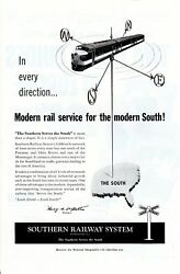 Vintage print ad Train 1955 Southern Railway System In Every Direction Modern $9.95