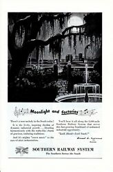 Vintage print ad Train 1948 Southern Railway System Moonlight and Factories art $9.95
