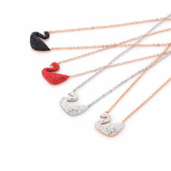 Swan Necklace Titanium Steel Rhinestone Chain Fashion Jewelry Pendant Necklace