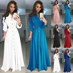 US Women Long Sleeve Button Dowm Maxi Dress Evening Party Casual Shirt Dress
