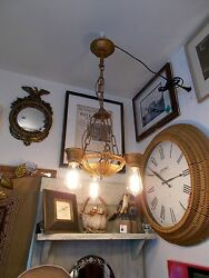 Antique Art Deco gilt 3 Edison Squirrel Cage Bulb Chandelier and Chain Works $295.00
