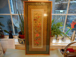 Beautiful Framed  Chinese Floral  Embroidery Birds And Butterflys