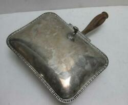 Vtg Silent Butler Ashtray crumb catcher silver plated wood handle